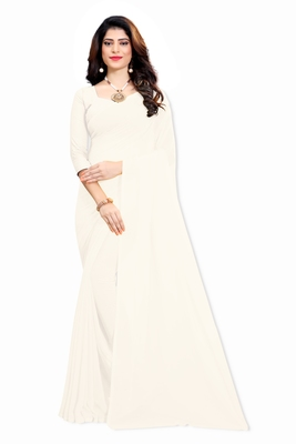 White plain faux georgette saree with blouse