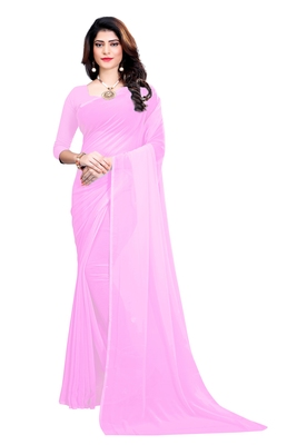 Light baby pink plain faux georgette saree with blouse