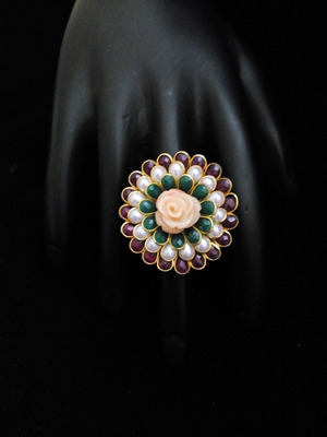 Green Maroon White Pacchi Ring