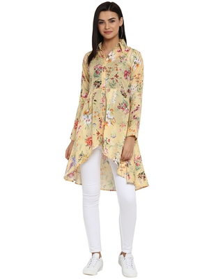 Light-yellow printed polyester party-tops