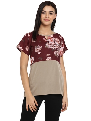 Maroon printed cotton party-tops