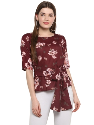 Maroon printed polyester party-tops