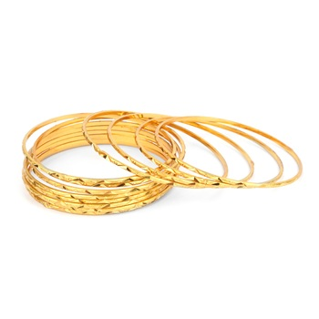 Set of 8 Golden Bangles for Dailywear by Leshya