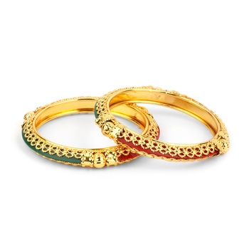 Traditional Red Green Kada Pair With Intricate Jaaliwork Border For Women By Leshya
