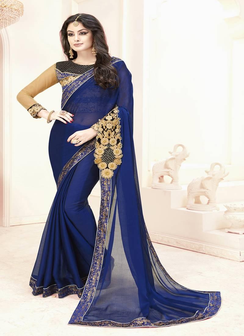 6fa662471ba7 Royal blue embroidered chiffon saree with blouse - Hanilex Fashion ...