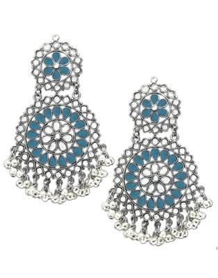 Karatcart Blue Afghani Tribal Oxidised Dangler Stylish Fancy Party Wear Light Weight Earrings For Women