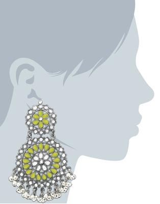 Karatcart Lemon Yellow Afghani Tribal Oxidised Dangler Stylish Fancy Party Wear Light Weight Long Earrings For Women