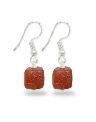 Karatcart Orange Matte Stone Fish Hook Drop Earrings For Women