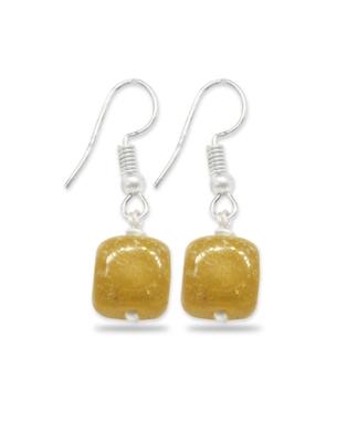 Karatcart Glossy Yellow Stone Fish Hook Drop Earrings For Women