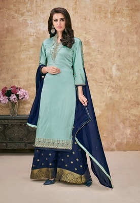 Sky blue embroidered georgette salwar with dupatta