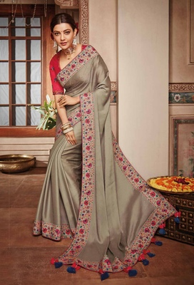 Beige embroidered satin saree with blouse