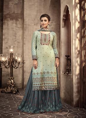 Light-blue digital print viscose semi stitched salwar with dupatta