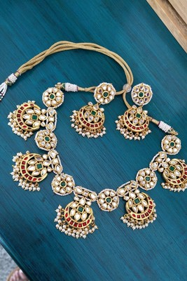 Green And Red Gold Tone Kundan Necklace Set With Pearls