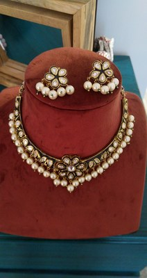 Gold And Black Handcrafted Kundan Choker Necklace Set