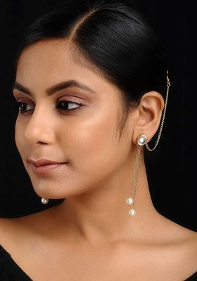 Gold Tone Kundan Inspired Pearl Earrings With Hair Chain