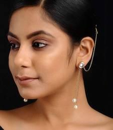 Gold Tone Kundan Inspired Pearl Earrings with Hair Chain