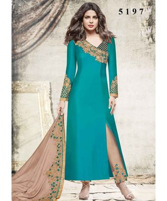 turquoise embroidered satin unstitched salwar with dupatta