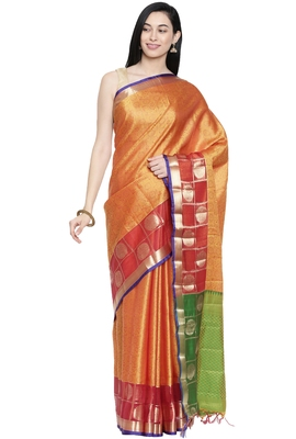 CLASSICATE from the house of The Chennai Silks Women's Yellow Dupion Silk Saree Wlth Blouse