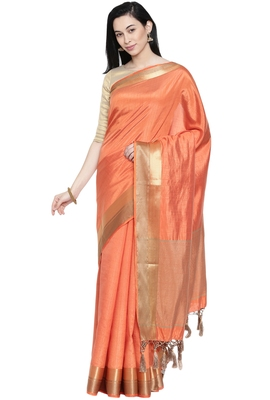 CLASSICATE from the house of The Chennai Silks Women's Peach Dupion Silk Saree Wlth Blouse
