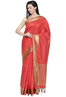 CLASSICATE from the house of The Chennai Silks Women's Coral Dupion Silk Saree Wlth Blouse