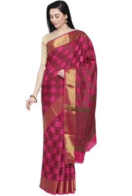 CLASSICATE from the house of The Chennai Silks Women's Pink Dupion Silk Saree Wlth Blouse