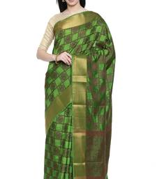 CLASSICATE from the house of The Chennai Silks Women's Green Dupion Silk Saree Wlth Blouse
