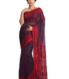 blue embroidred muslin saree with blouse