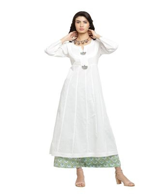 WHITEKALIDAAR KURTA WITH GREENBLUE PALAZZO