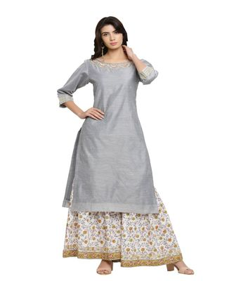 GREY CHANDERI KURTS WITH PRINTED SHARARA PANTS