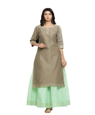 CHANDERI KURTA WITH CHANDERI SKIRT AND DUPATTA