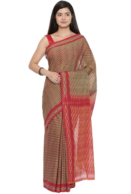 CLASSICATE from the house of The Chennai Silks Women's Multicolor Pochampalli Cotton Saree Wlth Blouse