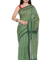 CLASSICATE from the house of The Chennai Silks Women's Green Pochampalli Cotton Saree Wlth Blouse