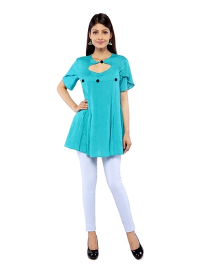 Turquoise plain rayon long-tops