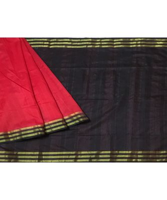 Red Woven Tussar Silk Saree With Blouse