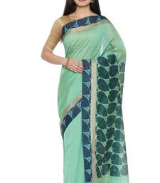 CLASSICATE from the house of The Chennai Silks Women's Green Printed Chanderi Cotton Saree Wlth Blouse