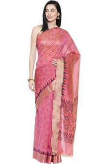 60c828fb71036b CLASSICATE from the house of The Chennai Silks Women's Pink Printed  Chanderi Cotton Saree Wlth Blouse