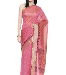 CLASSICATE from the house of The Chennai Silks Women's Pink Printed Chanderi Cotton Saree Wlth Blouse