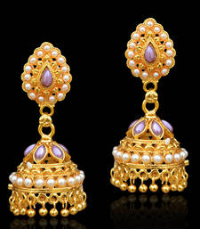 Buy Traditional ethnic jhumka earring with pearl and stone decoration-Purple fashion-deal online