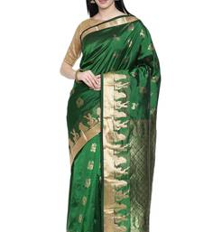 CLASSICATE from the house of The Chennai Silks Women's Green Arani Pure Silk Saree Wlth Blouse