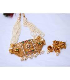 Multicolour stone studded multilayer pearl mala choker necklace set