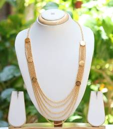 Multilayer beaded long chain necklace