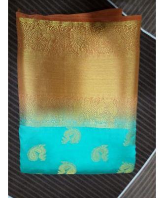 Blue silk blend kanchipuram saree with blouse