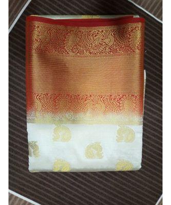 white peacock motif kanchipuram saree with blouse