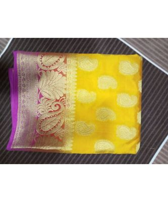Yellow paisley motif kanchipuram saree with blouse