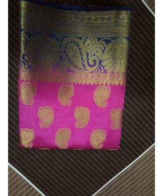 Pink paisley motif kanchipuram saree with blouse