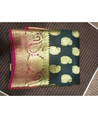 Black kanchipuram saree with blouse