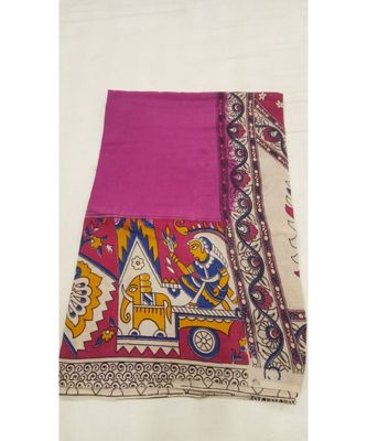 Pink cotton kalamkari saree with blouse