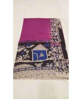 Blue and black print kalamkari cotton saree with blouse