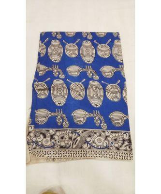Blue and white contemporary kalamkari print saree with blouse