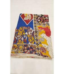 Traditional human figure print kalamkari saree with blouse